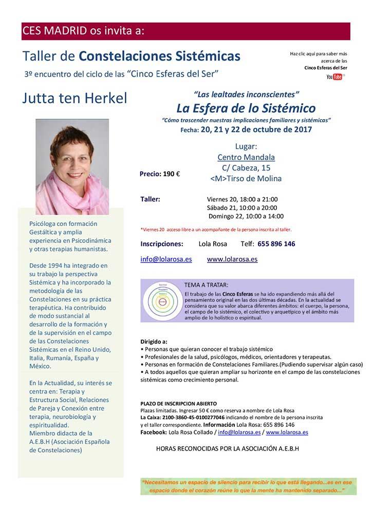 Taller La Esfera de lo Sistémico con Jutta ten Herkel – 20-21-22 Octubre 2017
