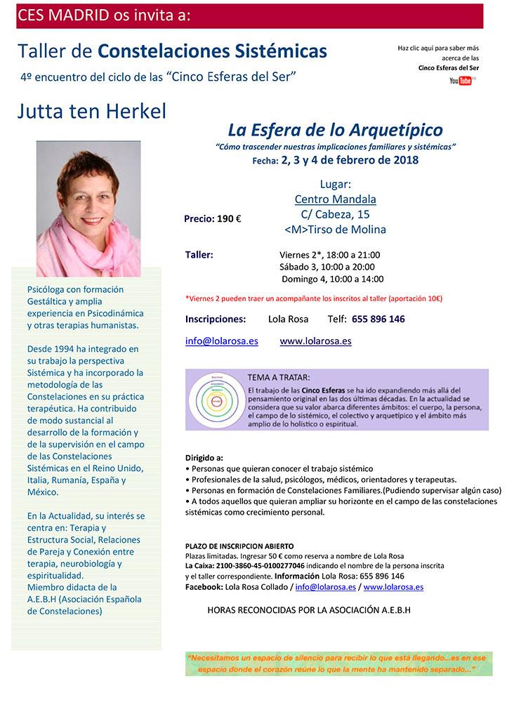 Taller La Esfera de lo Arquetípico con Jutta ten Herkel – 2-3-4 febrero 2018